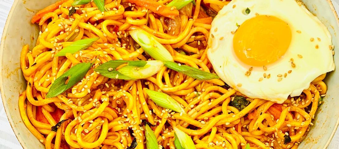 You and your oven are tired, make Gochujang Sesame Scallion Noodles