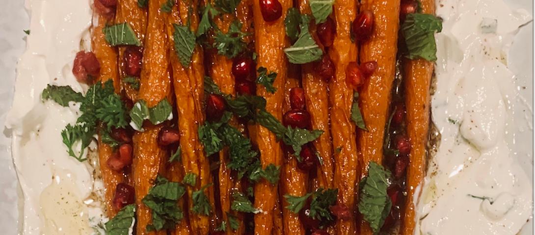 Election #TweetYourShabbat: Honey roasted carrots with Greek yogurt, pomegranate and mint