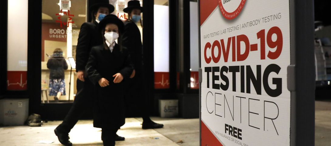 In Brooklyn virus 'red zone,' why do some posters tell only healthy people to get tested?