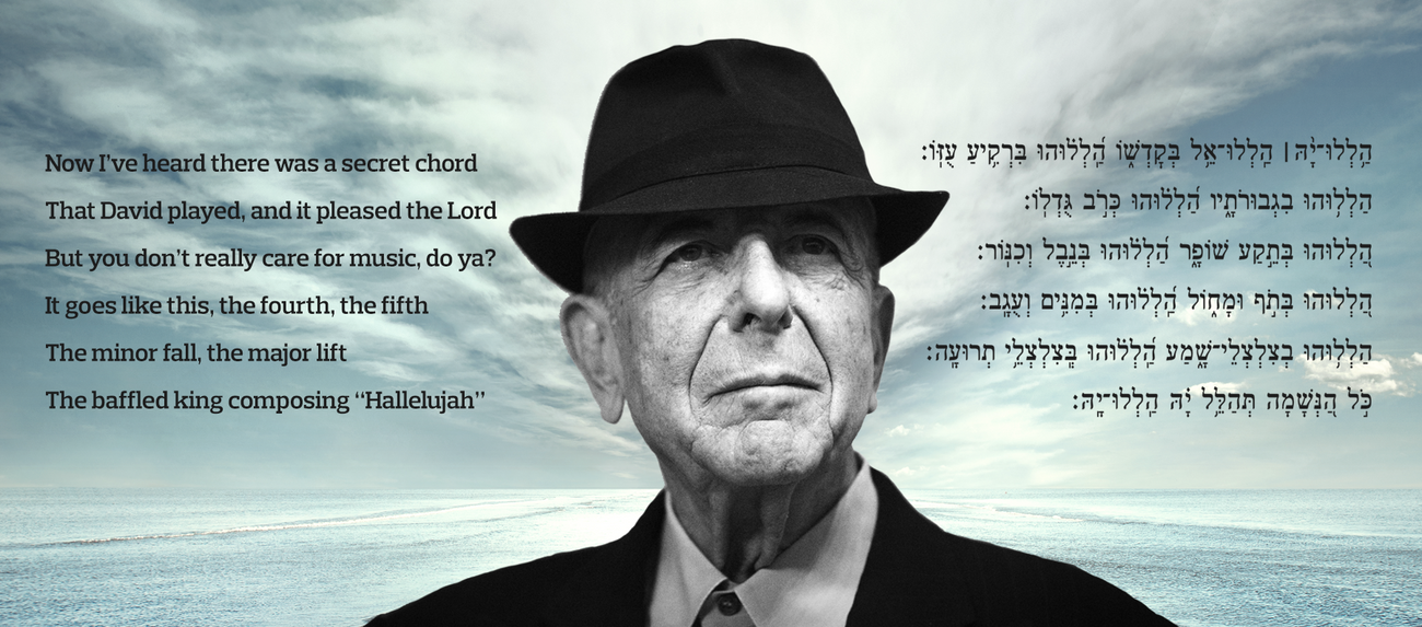 """Leonard Cohen with the words to """"Hallelujah"""" and their popular substitute, Psalm 150. by the Forward"""