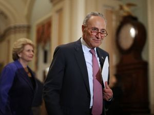 Senate Minority Leader Chuck Schumer arrives at a news conference following the weekly Democratic policy luncheon at the U.S. Captiol June 11, 2019 in Washington, DC. by the Forward