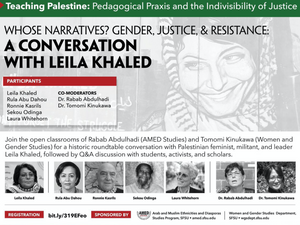 Announcement of speaking engagement with Leila Khaled by the Forward