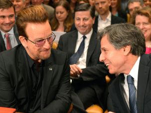 U2 frontman Bono and Antony Blinken during Senate Appropriations Subcommittee testimony in 2016 by the Forward