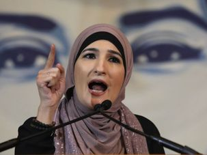 Activist Linda Sarsour speaks during a protest on February 7, 2018 in Washington D.C. by the Forward