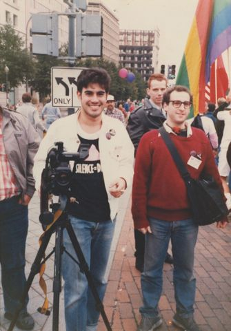 Gregg Bordowitz with David Meieran filming for Testing the Limits Video Collective in Washington, DC.  1987. by Avant