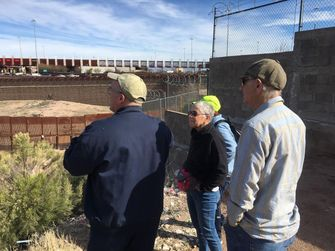 Manny Lindenbaum (R) touring the border with the Rev. Mayer and HIAS VP of Communications, Roberta Elliott in March 2019 by the Forward