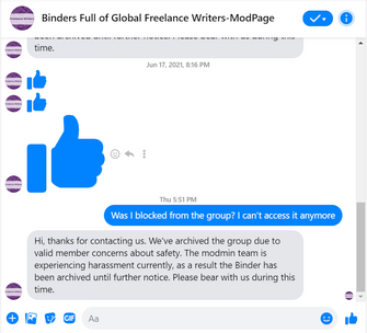 Brauner's message thread with the admin team, showing the end of the previous automated message as well as the same message in full, after the group had been unarchived. by the Forward