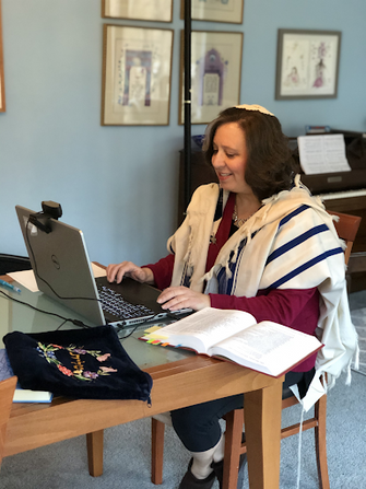Rabbi Wechsler works from home during the coronavirus outbreak by the Forward