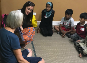 Mommy and Me Literacy Program at Rohingya Cultural Center that Rabbi Hart helped launch by the Forward