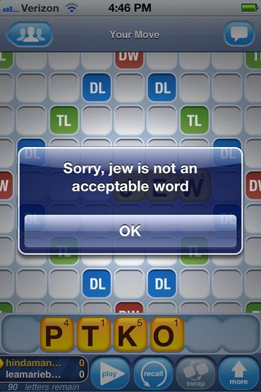Why Can't You Play 'Jew' in Words With Friends? – The Forward
