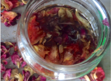 Rose bud-infused apricot oil. by the Forward