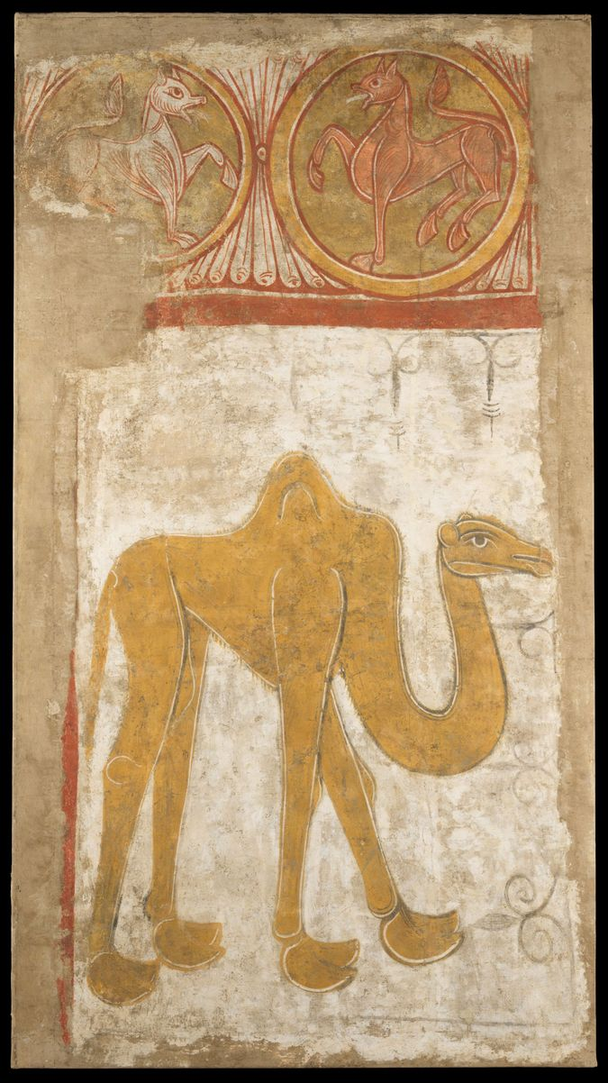 Camels like this came from North Africa to Spain and were likely familiar to Christian residents despite their distant origins.  from the front