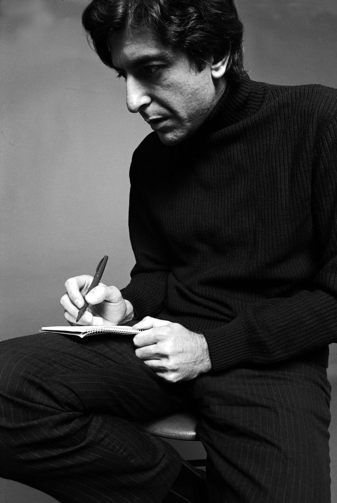 Young Leonard Cohen with notebook by the Forward