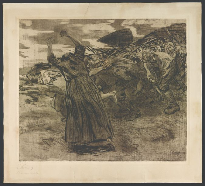 'Charge': In this line etching, dated 1902-03, Kollwitz depicted a scene of rebellion