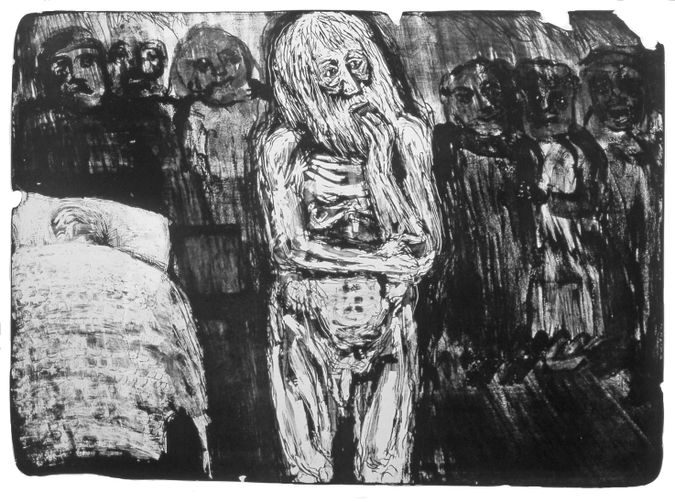 Claire Van Vliet, Only a Doctor: A 1962 lithograph shows the influence of both Kollwitz and Kafka