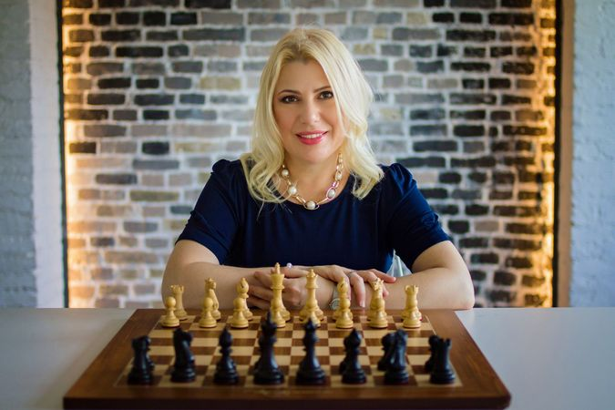 Polgar at the board in a recent picture. by the Forward