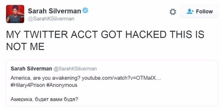 Sarah Silverman's Twitter Hacked by Anonymous After Calling 'Bernie