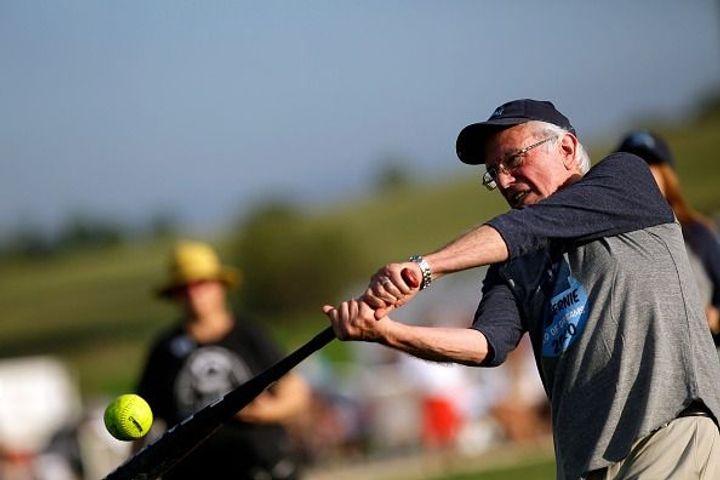 Bernie Sanders Brings His Softball A-Game To Iowa's Field of Dreams