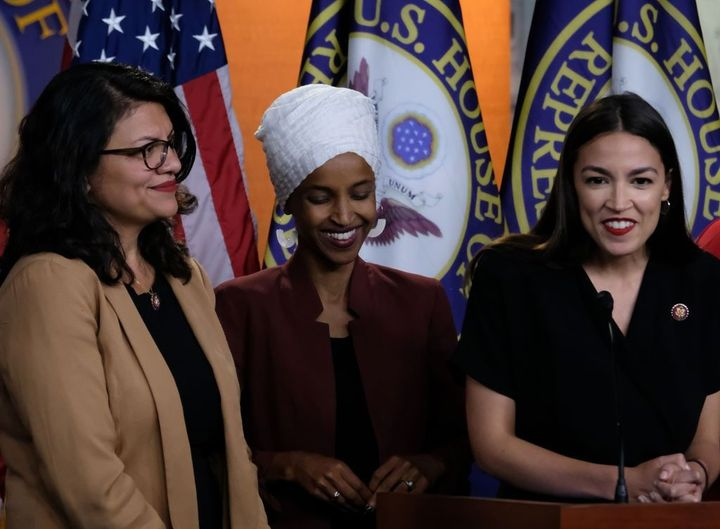 Reps. Rashida Tlaib, Ilhan Omar and Alexandria Ocasio-Cortez listen during a news conference at the U.S. Capitol on July 15, 2019. by the Forward