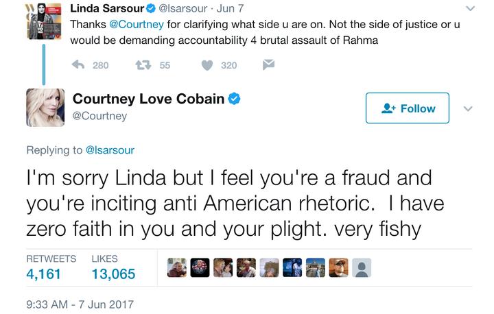 8a966b60aa9 Courtney Love Linda Sarsour Twitter Battle – The Forward