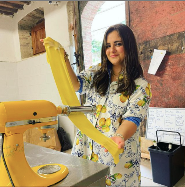 Chanie Apfelbaum poses with homemade pasta in Tuscany in an Instagram post from July 22, 2021. by the Forward