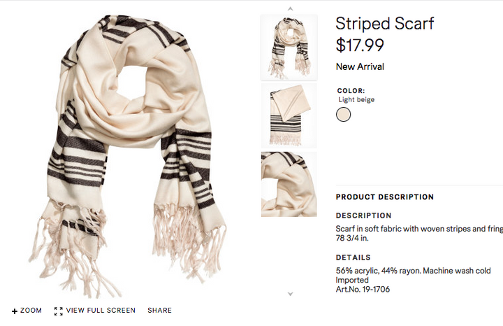 2227a7bb H&M Pulls 'Tallit' Scarf From Israeli Site — Still for Sale in U.S. ...